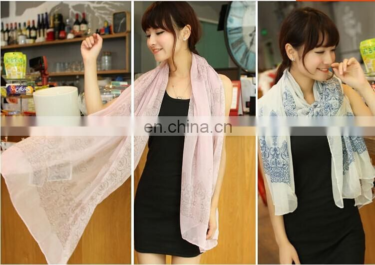 2014 new voile butterfly scarf printed summer scarf and spring scarf flower