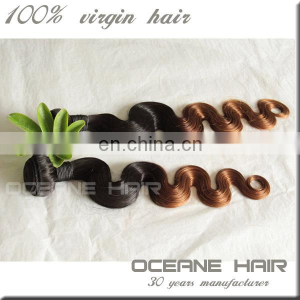 Full cuticle double drawn virgin raw two tone cheap beauty ombre hair extension