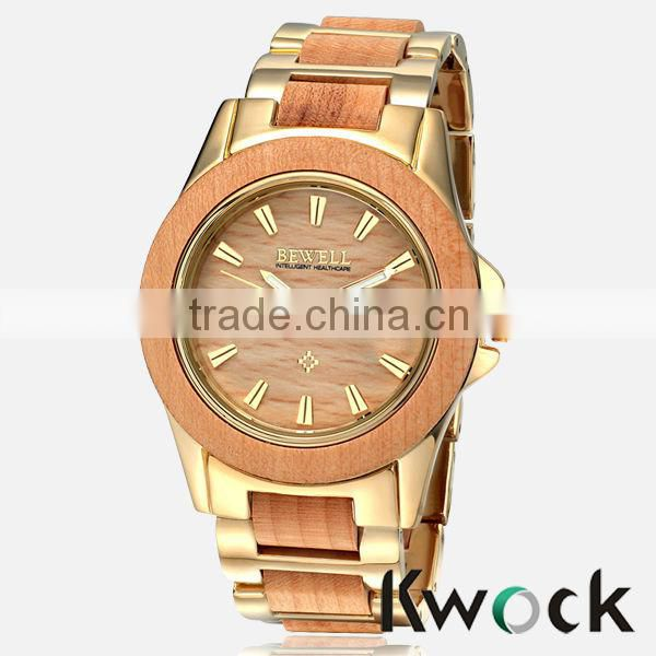 Auto Date Alloy Material Water resistant Men's Gender Quart Analog bamboo Watch