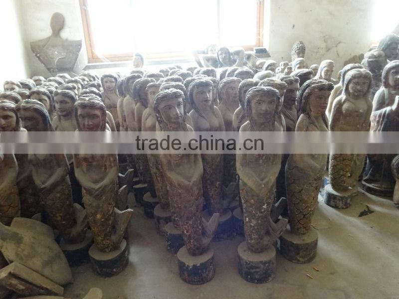 Hand made wooden carving mermaid,Antique wooden statues,Religious sculptures