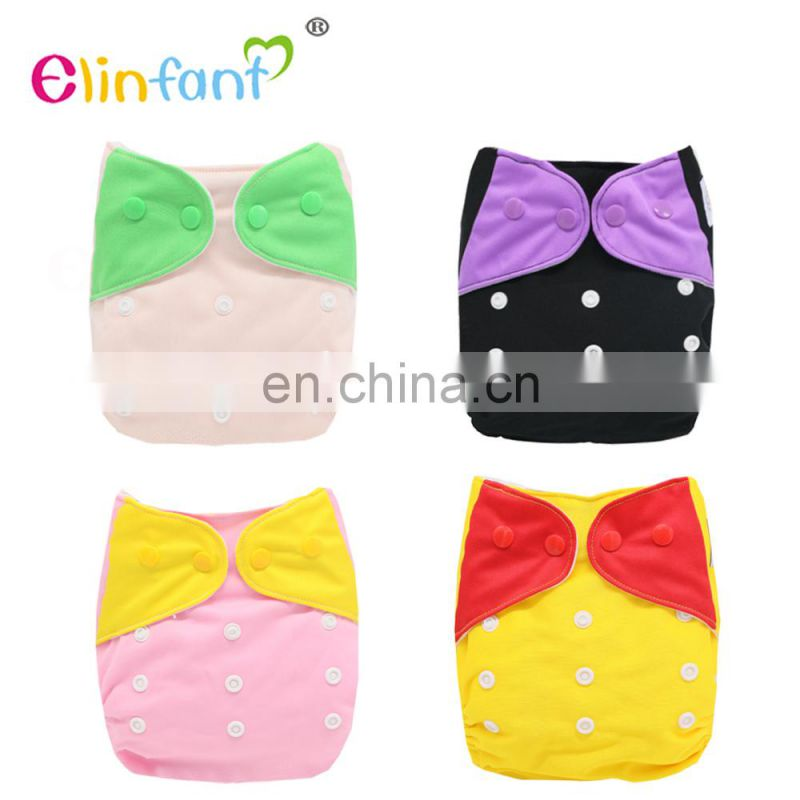 Elinfant 2017 New fashion design embroidery cloth pocket diaper washable Splicing color baby cloth diaper nappy