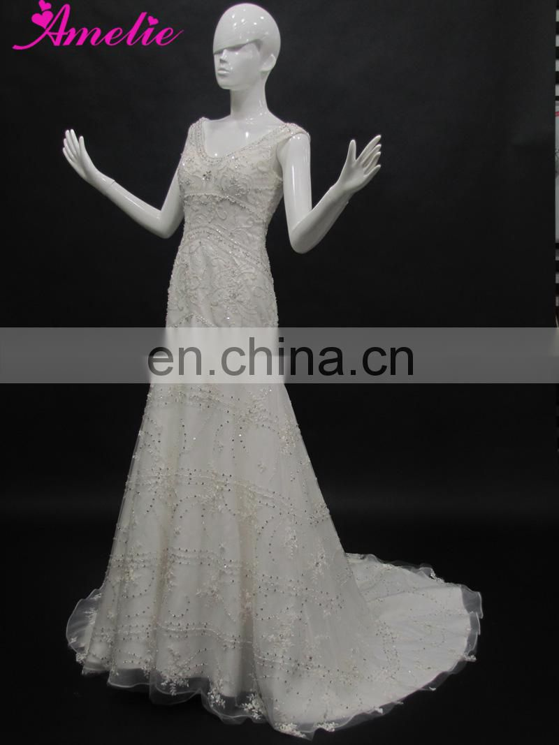 Real A Line Crystal Rhinestone Wedding Dresses