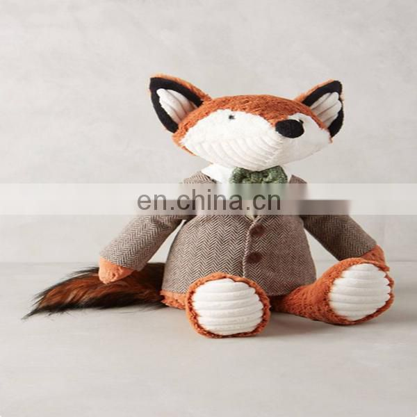 Gorgeous fox in little blue coat with goose! Great for toddlers room or just for decoration. DIY fox patter stuffed animal fox
