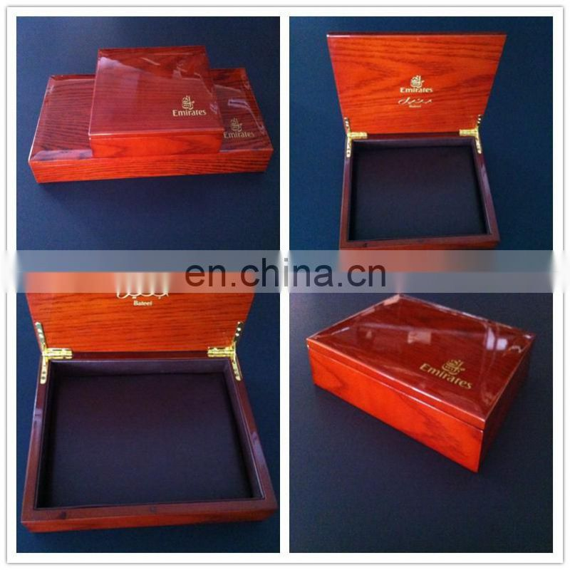 Luxury high-end wooden box with PU leather insert for VIP customers