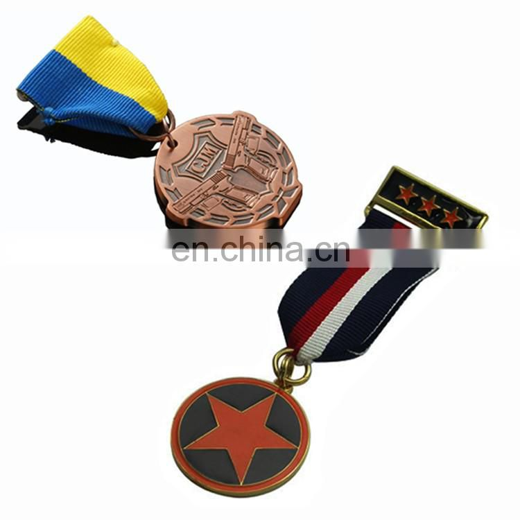 Custom Metal Crafts bronze award metal alloy sport medal with ribbon