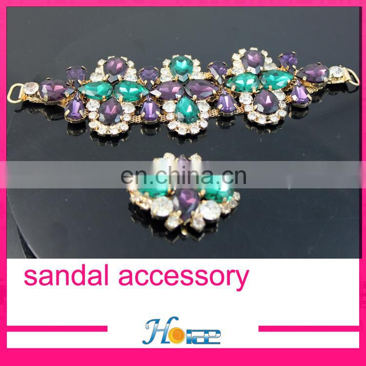 fashion handmade lady shoe decoration crystal sandal chain