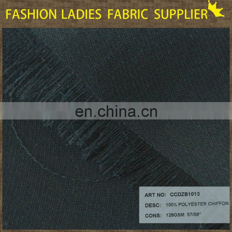 Shaoxing textile soft well black chiffon for shirt 100%poly chiffon