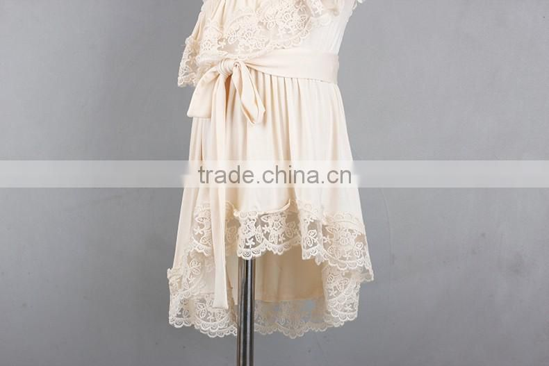 Top Quality Forwishes Girls Dresses Oblique Shoulder Cream Lace Dress Bridal Flower Girl Dresses