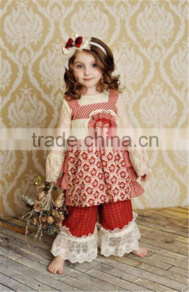 2016 fall design white lace swing cloth boutique baby girl long sleeve black lap dress high waist outfits