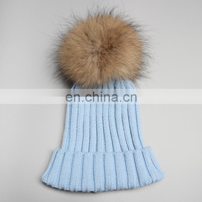 Hand made jumbo raccoon fur ball girl hats real pompom knitted hats
