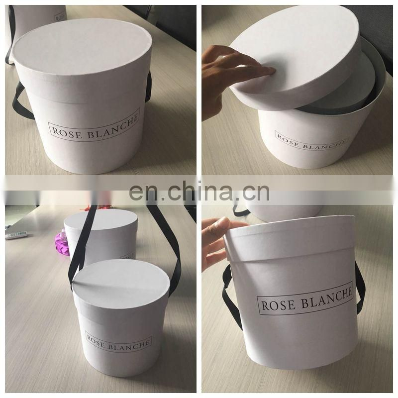 Accept customized ! ! ! Top Beautiful round flower box with ribbon handle
