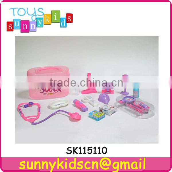 plastic doctor set toy with pink handle box