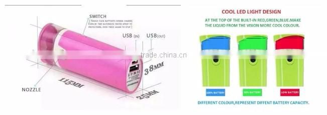Free sample! USB mini water air humidifier the best portable ultrasonic diffuser with power bank 5 in 1 beauty instrument
