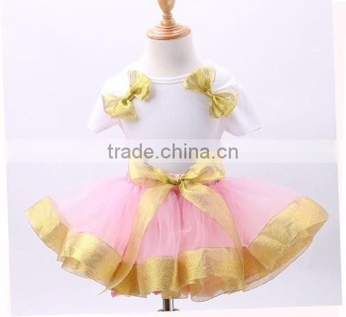 2017 hot sell princess tutu ,pink bow-knot suit , white t-shirt+tutu from 2-7 years