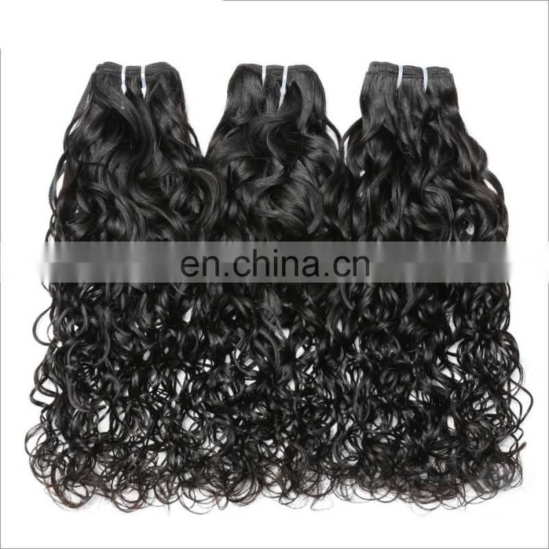Natural color high quality OEM aceepted virgin brazilian water wave hair extensions