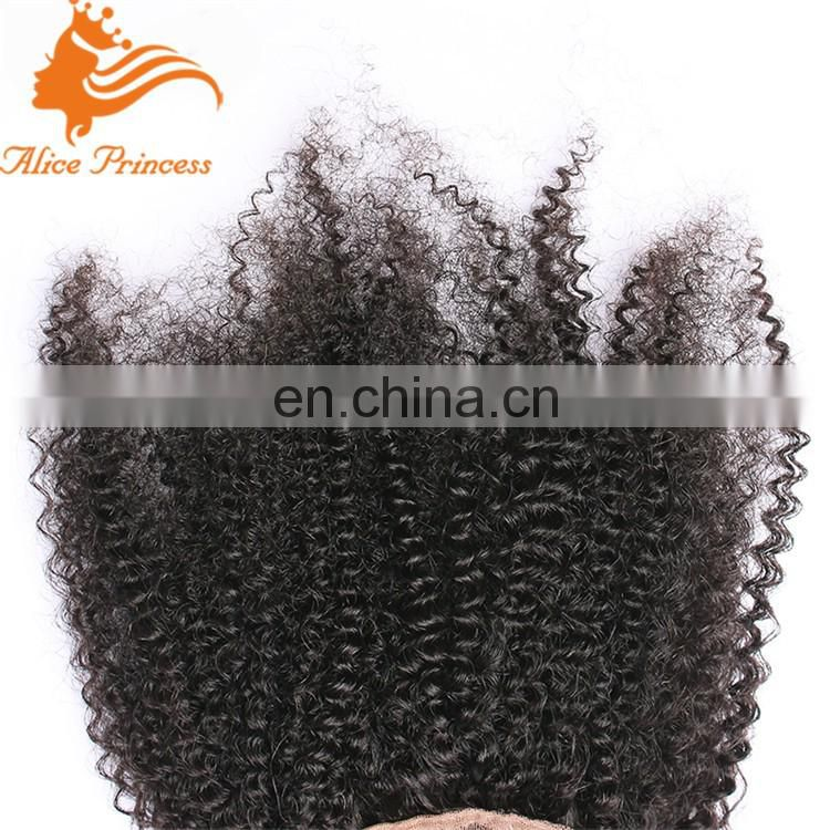 Mongolian Afro Kinky Curly Hair Closure Free Part Virgin Human Hair Lace Closure Kinky Curly