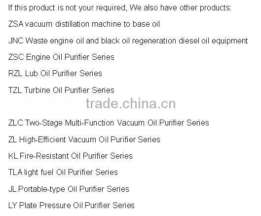 Best price machine to process turbine oil/engine oil/marine oil into base oil ! ZSA china used car oil extraction