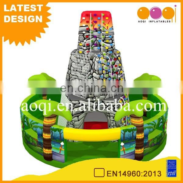 trampolin outdoor park artificial air rock climbing wall with jumping bed