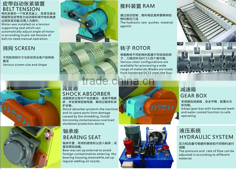 Wood crusher machine Single shaft