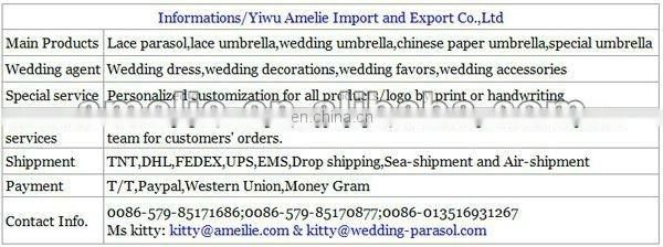 A0176-Wooden Hand wholesale Lace Umbrella White