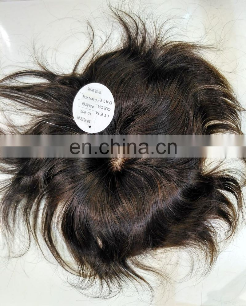 High quality 100%human hair toupee,Invisible knot with silk crown,strong base for men/women toupee
