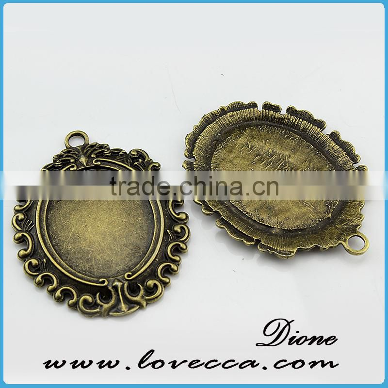 Flat Square glass cabochon pendant tray,antique bronze metal setting for necklace accessories