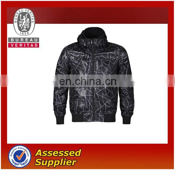 Fashion printing oil coating Winter jacket with hoody