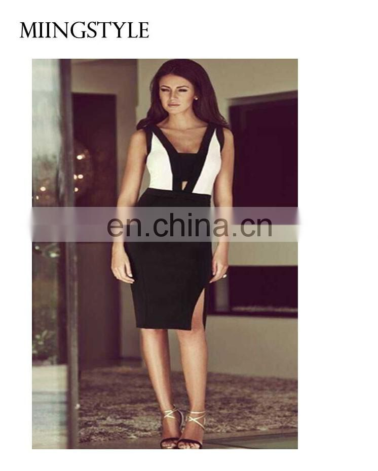 2016 woman bodycon cocktail formal party dress , sleeveless two-piece latest dress designs bandage dress for ladies