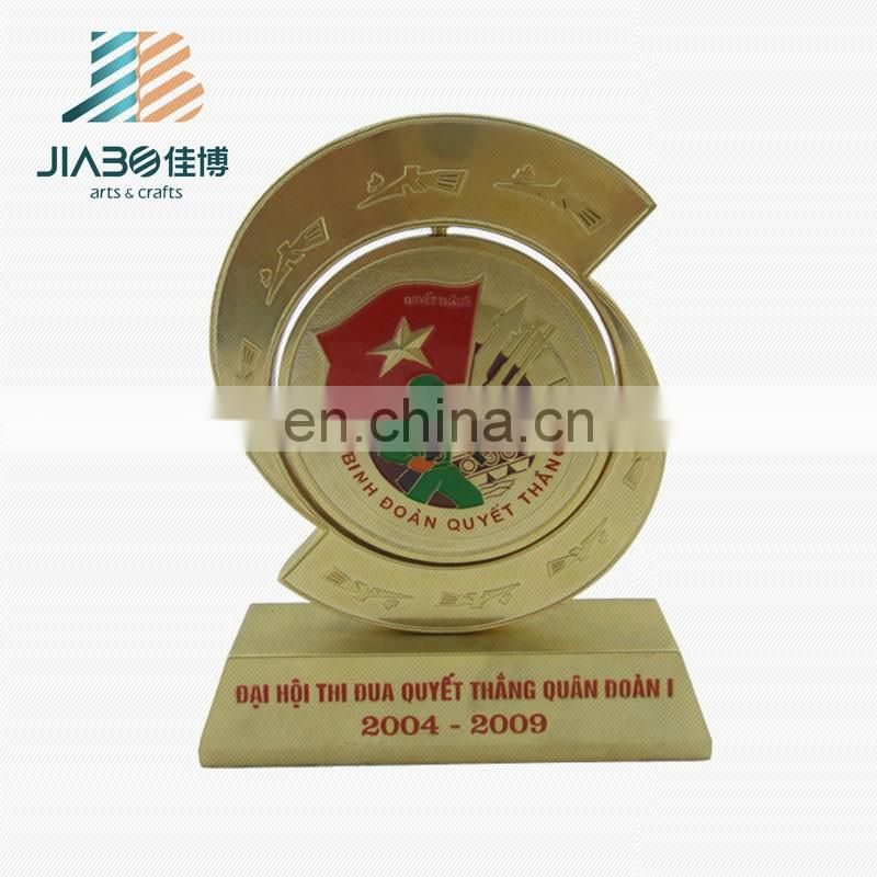custom painted gold plating trophy for Vietnam border troop