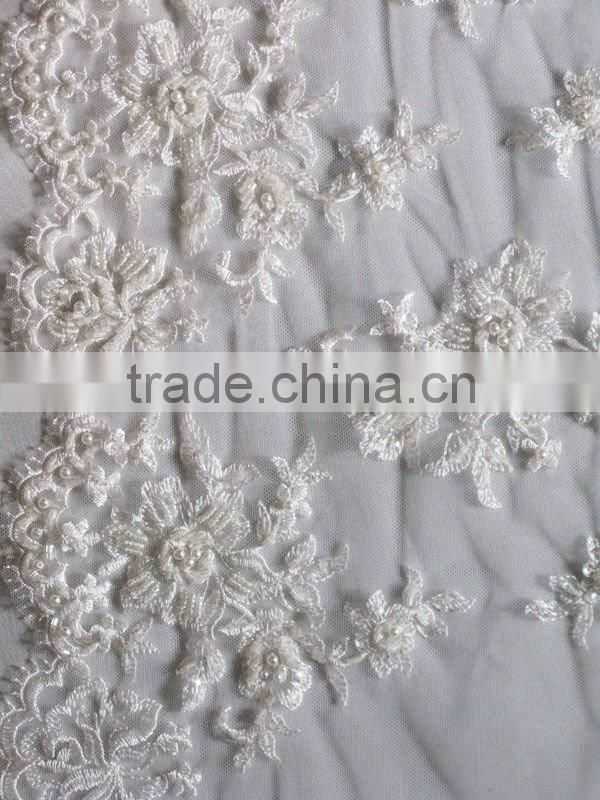 Tulle mesh embroidered eyelash beading runner lace
