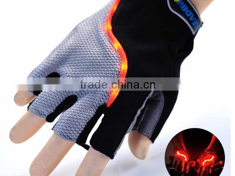Mountain Biking Gloves with LED Light Bicycle Cycling Riding Half Finger Cycling Gloves Anti-slip Work Gloves