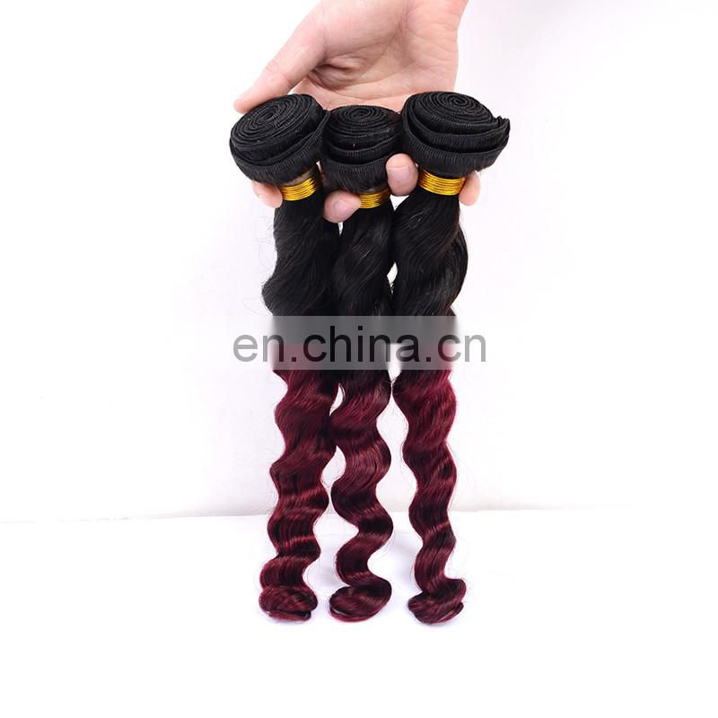fashion color 1b 99 J remy hair weave loose wave human hair extenison