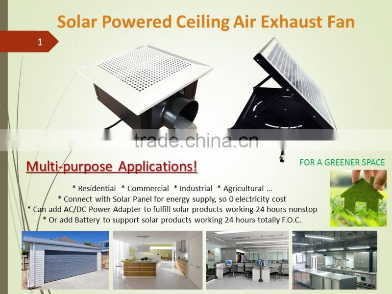 Solar Energy powered New Ventilation Product Ceiling Mounted Air Exhaust Fan