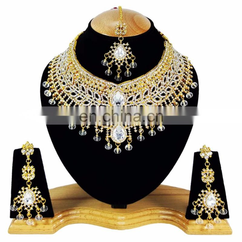 Beautiful Designer Gold Plated Bollywood Party wear Jewelry Necklace Set White Color