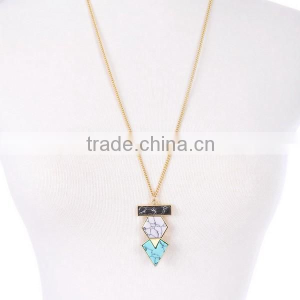 Triangle turquoise stone pendant necklace