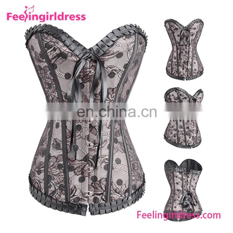 2016 Fashion Lacework Top Quality Sexy Gey Pattern New Design Plus Size Women Satin Fashion Corset