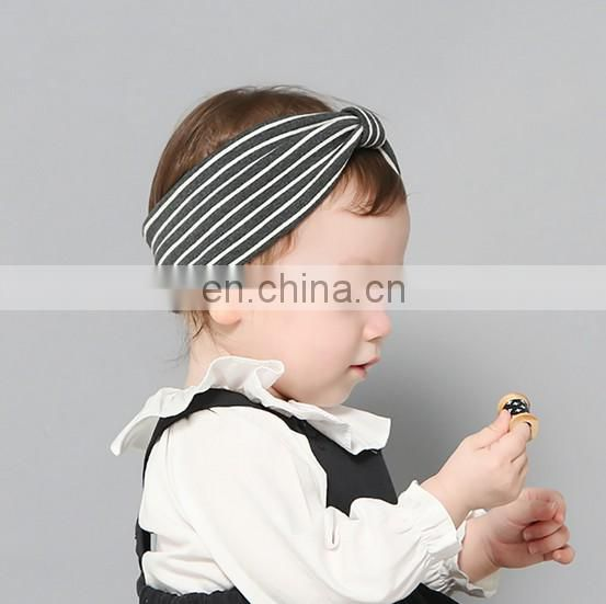 Gray Stripe Headbands With Bows Baby Organic Cotton For Baby Headbands Photography Prop