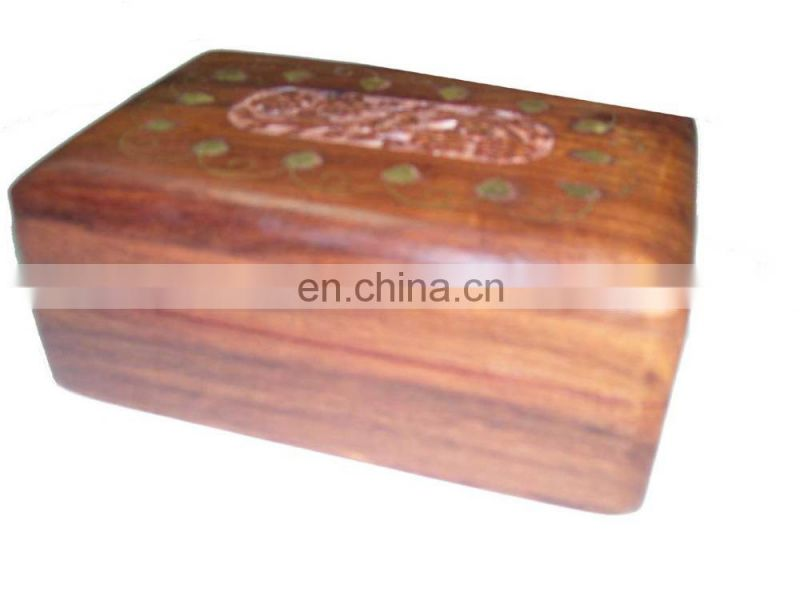 "WOODEN BOX CARVING & BRASS INLAY DESIGN (6""X 4""X 2.5"" )"