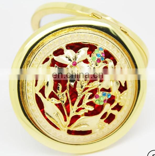 flower decoration gold metal compact mirror