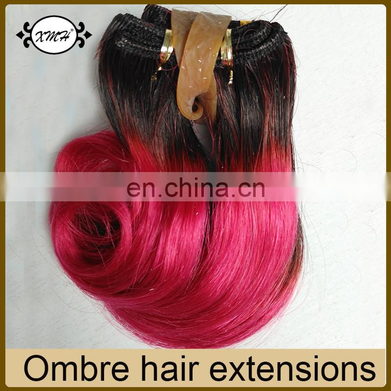 High quality ombre hair extensions T color 1b/27 30 Red blue Purple Grey Hair weave short hairstyles for black women