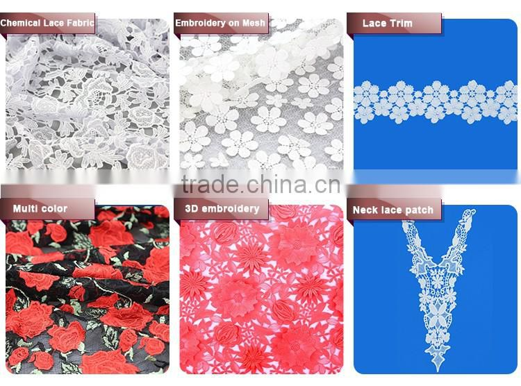 OEM Custom shaped embroidery collar design cotton chiffon lace decorative trim for Dress