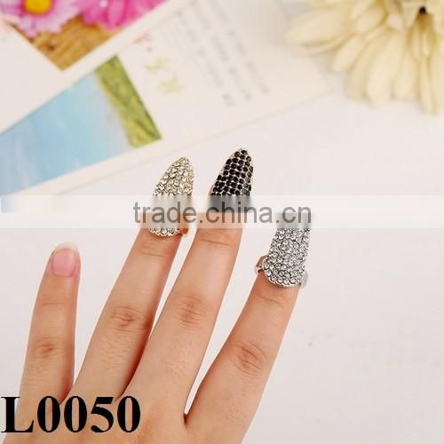 Trade jewelry Full black crystal Nail rings beautiful fashion jewelry for girls wholesale L0050