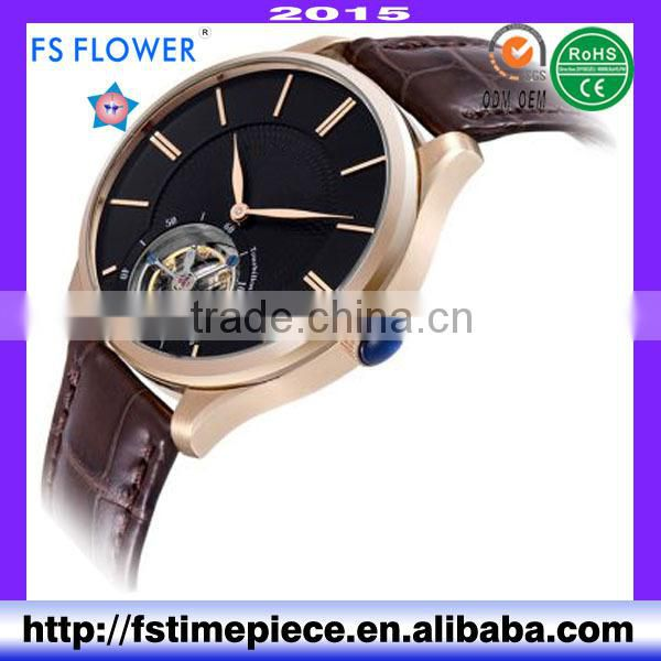 FS FLOWER - Chinese Toubillon Movt Mens High Quality Leather Strap Mechanical Watches