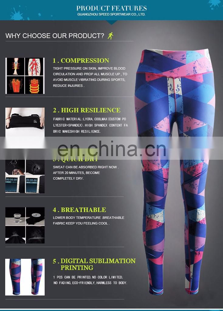 custom sublimation tight fit gym leggings spandex lycra compression yoga pants