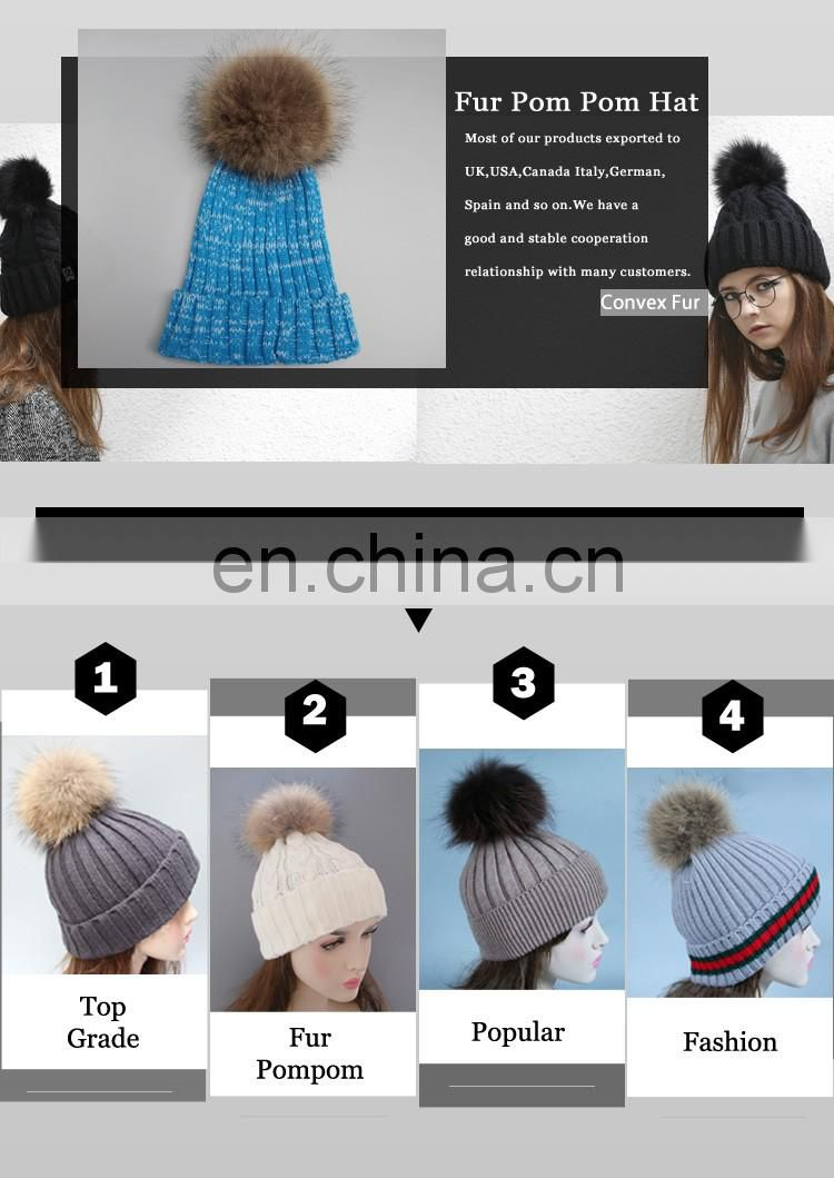 New product colorful knit hats wholesale fancy raccoon fur ball women floppy hat