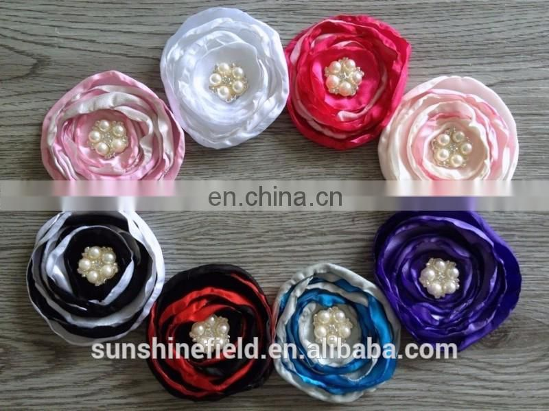 Colorful Satin Poppy Layered Flowers Fabric Handmade Flowers With Sparkling Pearl Rhinestone For Hair Accessories