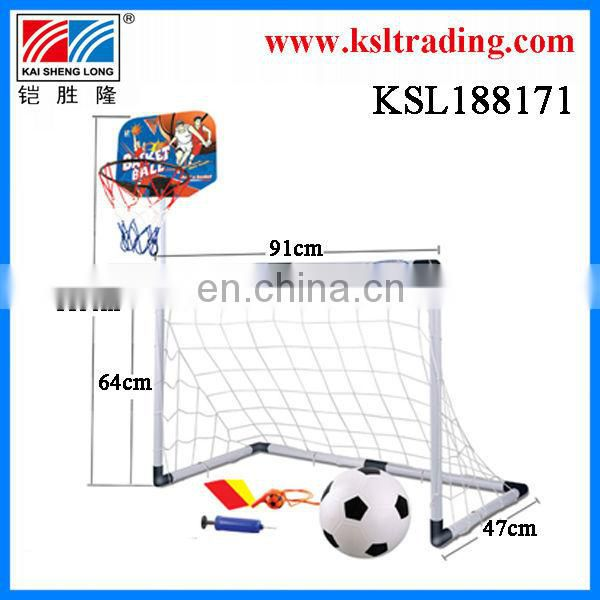 2 in 1 kids sport plastic toy basketball game/ toy football game