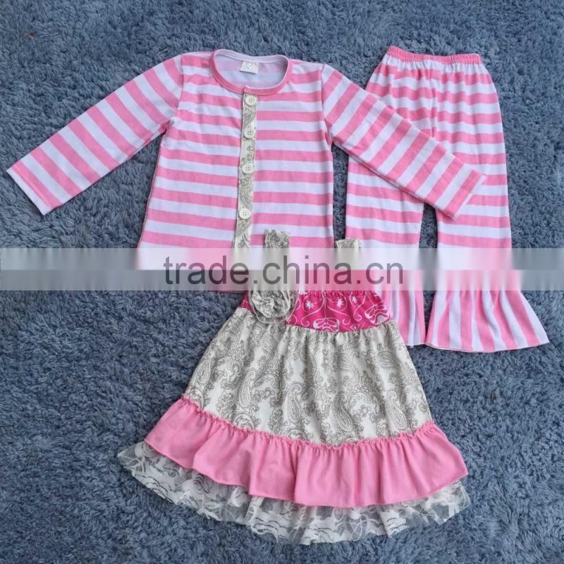 2016 wholesale gilrs boutique ruffle outfit children fall clothes set baby organic cotton toddler girl clothing