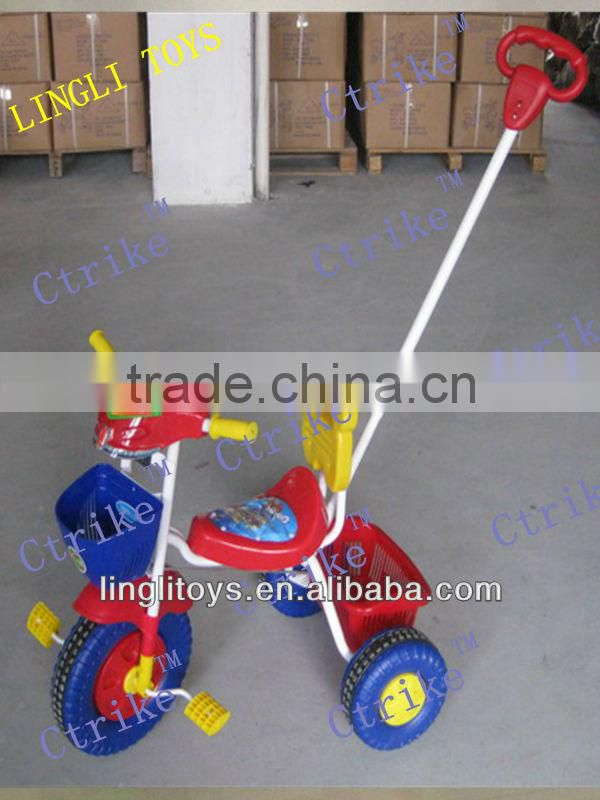pinghu lingli for baby car push bar three wheels riding toys,baby tricycle with push rod