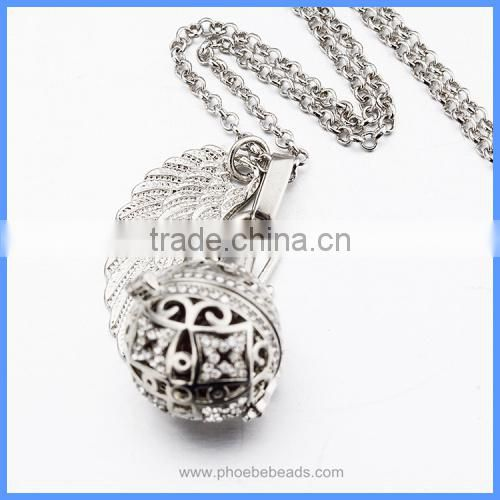 4 Colours Rhinestones Pave Hollow Baby Musical Chime Bell Box Bead Angel Wing Harmony Pregnancy Jewelry Necklace BAC-M035